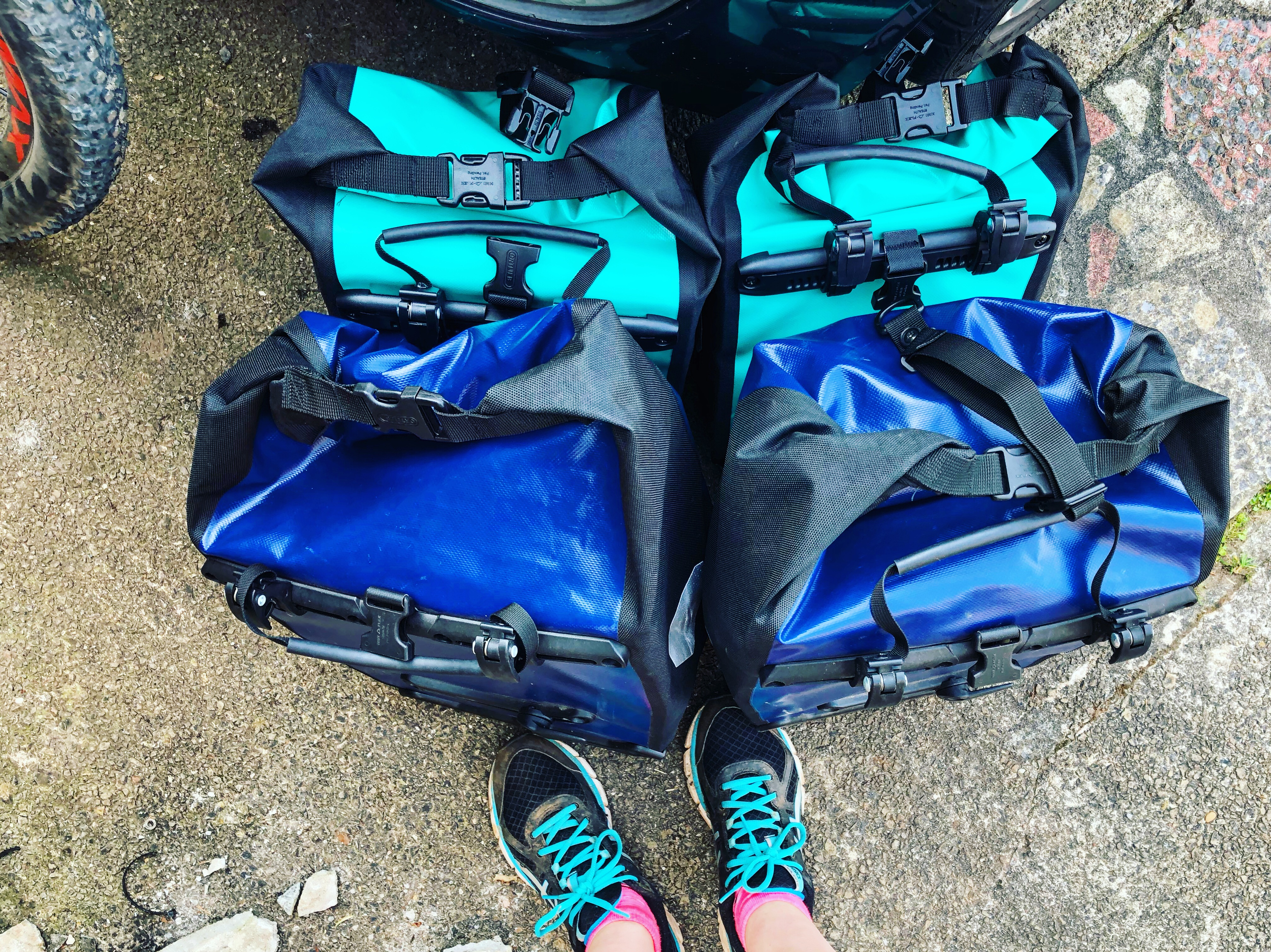 Cardiff Cyclist Nutrition and Dietetics Cardiff Met cycling to brecon Ortlieb bike pannier bags blue