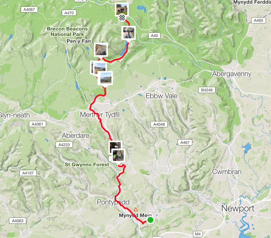 Cardiff to brecon map cycling touring giant toughroad